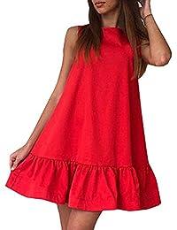 Minetom Mujeres Cuello Redondo Sin Mangas Mini Vestido Del Oscilación Casual Color Sólido A-lìnea Dress