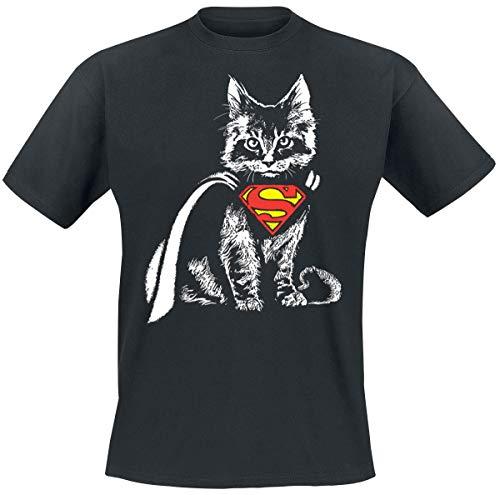 Superman Cat Cape T-Shirt schwarz L