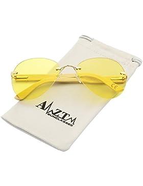 AMZTM Vision Nocturna Reducir El Resplandor Conducción Gafas Clásico Moda Sin Montura Bambú Madera Aviator Gafas...