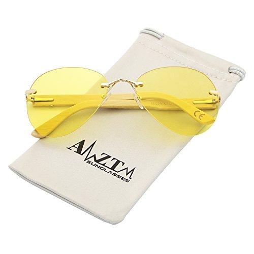 AMZTM Vision Nocturna Reducir El Resplandor Conducción Gafas Clásico Moda Sin Montura Bambú Madera Aviator Gafas De Sol De Mujer Y Hombre Protección 100% UV400