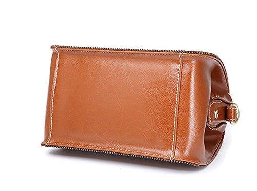 Xinmaoyuan borse Donna Summer borsetta moda vento retrò fibbia di bloccaggio di vacchetta multicolore Singola portabile a spalla borsa Messenger medico Pack,Nero Colore caramello