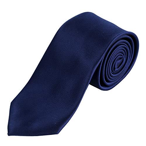 DonDon Herren Krawatte 7 cm klassische handgefertigte Business Krawatte Dunkelblau für Büro oder festliche Veranstaltungen Business-krawatte