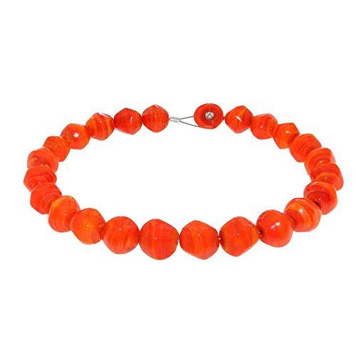 Susanna Martini Handgemachte Halskette mit Perlen aus Original Murano Glas Stone Orange
