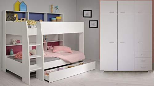 Jugendmöbel24.de Kinderzimmer weiß inkl Regale + Bettschubkasten 2X Lattenrostplatte Kleiderschrank Doppelbett Hochbett Spielbett Stockbett Kinderbett