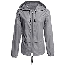 acelyn Womens Raincoat Waterproof with Hood Packable Rain Jacket Grey L