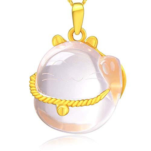 Collana da donna con ciondolo a forma di gatto portafortuna intarsiato in oro con pietra di ibisco