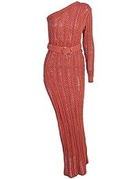 Sentaoa Damen Sommer Schulterfrei Partykleid Maxikleid Vintage Hollow Out  Bodycon Strickkleid Lange Strandkleid 4f9c53015a