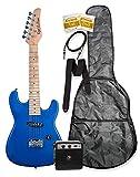 "32"" Metallic Blue Junior Kids Mini 1/2 Half Size Electric Starter Guitar"