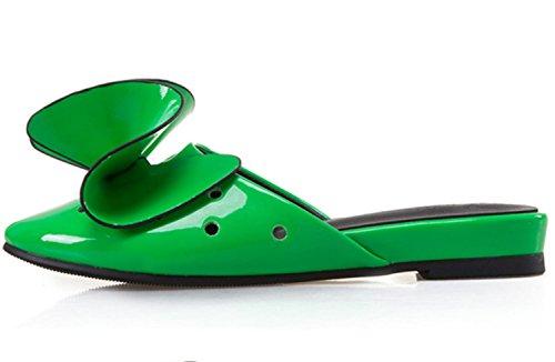 Pattini di grande formato delle donne di XDGG Estate Pattini piani dei sandali dei nuovi fiori di brevetto di estate del pattino dei fiori di tridimensionale green