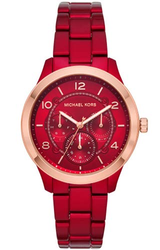 Michael Kors Damen-Armbanduhr Analog Quarz One Size, rot, rot