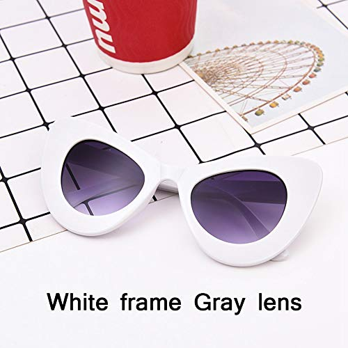 HUWAIYUNDONG Sonnenbrillen,Fashion Big Frame Sunglasses Women Classic Leopard Patter Cat Eye Glasses Femle Travel White Gray
