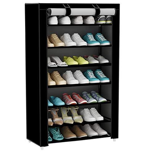 UDEAR Armario para Zapatos de Tela Shoes Rack Zapato del gabinete Zapatero estantería Negro