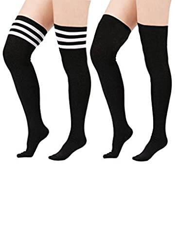 Zando Women's Stretchy Over the Knee High Socks Plus Size Thigh High Stockings 2 Pairs Black w Black w