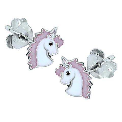 Pink Unicorn Earrings - Sterling Silver