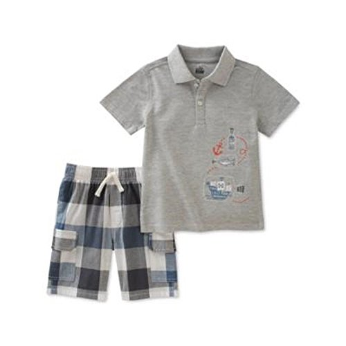 Kids Headquarters 2 Stück Grafikdruck Baumwolle Polo & Plaid Shorts Set für Baby - Jungen 12 Monate Grau Blau (Shorts Plaid Polo)