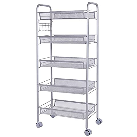 Lifewit Multipurpose Metal Mesh Rolling Cart with Hooks Movable Storage Rack 5-Tier Space Saving Trolley for Bathroom ,Kitchen,