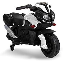 LT875 Motocicleta eléctrica para niños MOTO SPEED con luces y sonidos realistas - Blanco