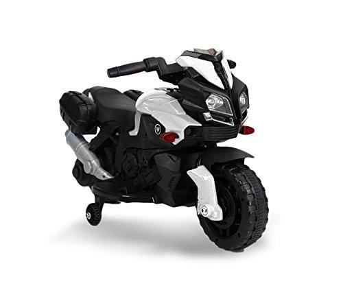 Motocicletta elettrica LT875 per bambini MOTO SPEED con luci e suoni realistici. MEDIA WAVE store ® (Bianco)