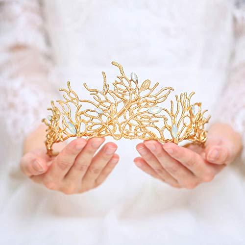 handcess Hochzeit Krone und Tiara gold opal Kristall Zweig Barock Queen Prinzessin Kopfband für Brides Frauen und Mädchen (Kronen Tiaras Und Gold)