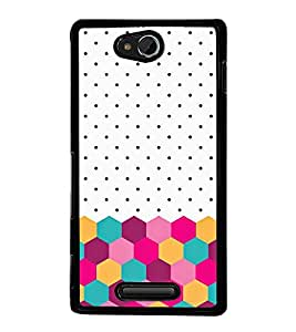 Fuson Premium 2D Back Case Cover White & pink pattern With Multi Background Degined For Sony Xperia C