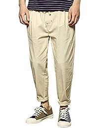 Pantalones Hombre,Los Hombres de Verano de Lino sólido elástico Suave Informal Suelta Pantalones de