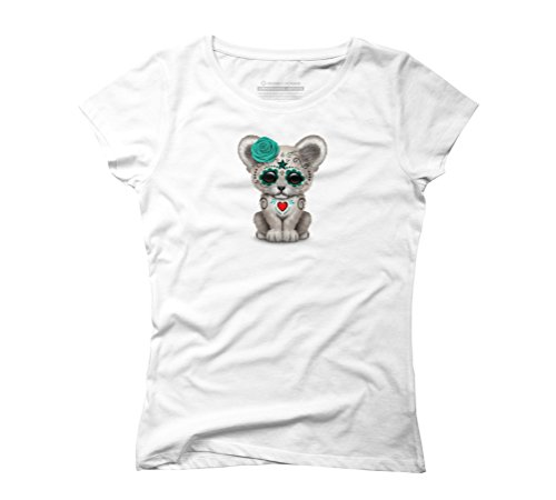 Blue Day of the Dead Sugar Skull White Lion Cub Women's Graphic T-Shirt - Design By Humans White