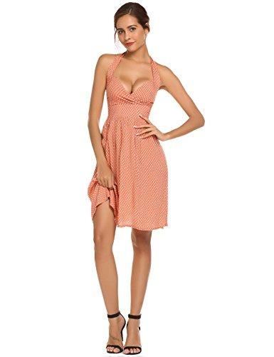 Meaneor Robe Femme Rétro Rockabilly Swing Vingtage 1950's Andrey Heburn Dress à pois 4 Couleur Abricot