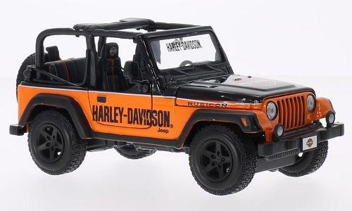 Jeep Wrangler Rubicon, noire/orange, Harley Davidson, 2014, voiture miniature, Miniature déjà montée, Maisto 1:24
