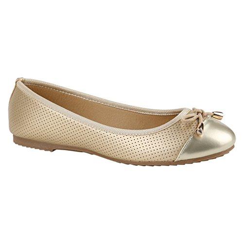 Damen Ballerinas Ballerina Flats Spitze Slipper Schleifen Freizeit Leder-Optik Übergrößen Schuhe 130915 Gold Gold 36 Flandell - Gold Ballet Flat
