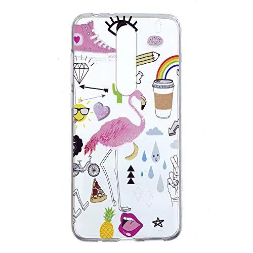 HHUAN Custodia Nokia 5.1 Plus/Nokia X5,Morbido Trasparente Silicone Protettivo Coperchio Cassa AntiGraffio TPU Custodia Bumper Cover Case (HX68)