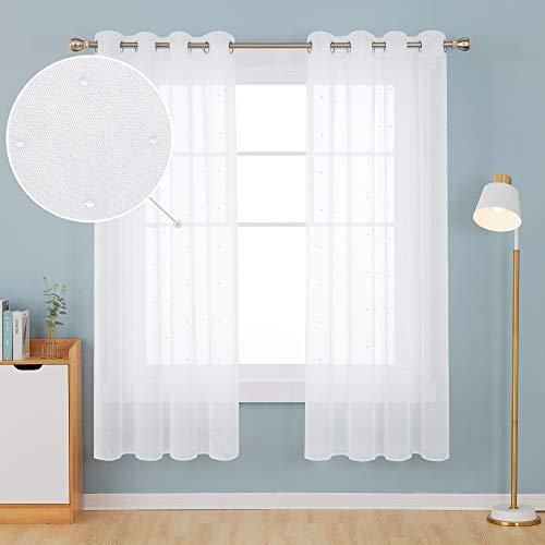 Deconovo Tende Camera da Letto Trasparenti Ricamate Cerchi Bianco in Voile  con Occhielli per Casa Moderne 140x175 CM Bianco 2 Pannelli