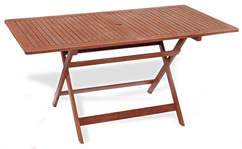Table rectangulaire pliable 150 x 80 x 72 Table de jardin mod.Chèvrefeuille en bois de keruing à transformation artisanale, table de bois usage extérieur, table en Keruing, table pliante de jardin.