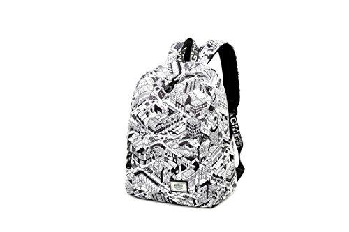 Joymoze Wasserdicht Süß Schule Rucksack für Jungen und Mädchen Leicht Schick Bedruckt Bücher Tasche Schwarz 844 Gebäude