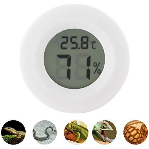 POPETPOP Reptil-Thermometer und Luftfeuchtigkeitsmesser-2er-Pack Digitales Reptil-Thermometer Umschaltbar Celsius Fahrenheit Eidechse Spinnenschildkröte Terrarium Tank Hygrometer (Weiß)