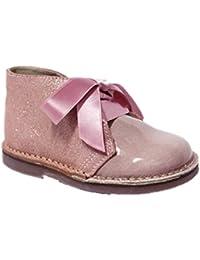Dar2 100 - Botín infantil niña chica glitter/charol con cordones o lazo