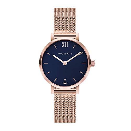 PAUL HEWITT Armbanduhr Damen Sailor Line Modest Blue Lagoon - Damen Uhr (Rosegold), Damenuhr Edelstahlarmband in Rosegold, blaues Ziffernblatt