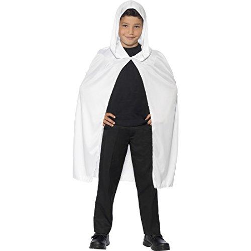 NET TOYS Mittelalter Umhang mit Kapuze Kapuzenumhang für Kinder weiß Halloween Gespenster Cape Kapuzencape für Jungen