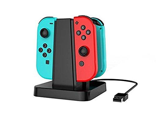 Taos Anzeigen (kasillo Nintendo Schalter joy-con Ladestation 4in 1Ladegerät Dockingstationen Ständer und Ladekabel Halterung mit LED-Anzeige)