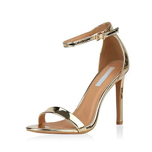 SCARPE VITA Damen Sandaletten High Heels Elegante Abendschuhe Basic Stilettos 157808 Gold 37