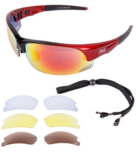 385ce3e79d7 Rapid Eyewear Edge Red Antiglare UV400 SUNGLASSES With Interchangeable  Clear