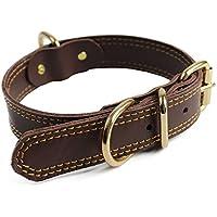[Gesponsert]Bliqniq Hundehalsband Leder breit braun für kleine und große Hunde, Breit: 2cm Länge 45cm, Halsumfang: 28-39 verstellbar