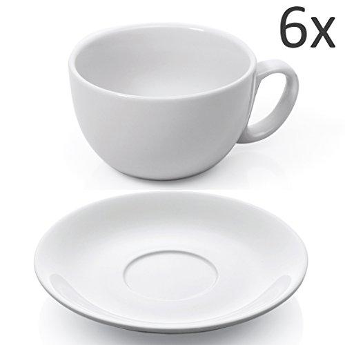 XL Tassen Set 12-tlg. weiß Porzellan Kaffeetasse Untertasse Café au Lait Milchkaffee Cappuccino Caffè Latte Kaffee Tasse dickwandig Füllmenge 350 ml