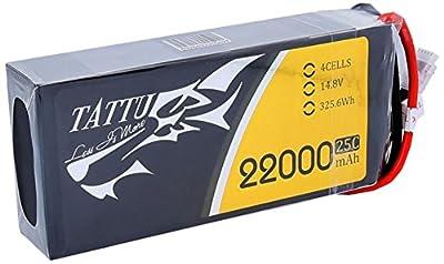 Tattu 22000mAh 14.8V 25°C 4S1P Lipo Pack Battery with EC5Connector for UAV Drone FPV RC Quadcopter DJI, Cinestar, Droidworx by Tattu