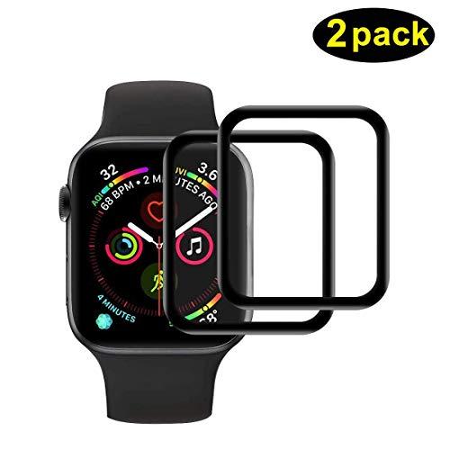 POOPHUNS Protection Écran pour Apple Watch Series 5/Series 4 44mm, [2 Pièces] Full Coverage Haut Définition Film Protection en Verre Trempé Écran Protecteur-Noir