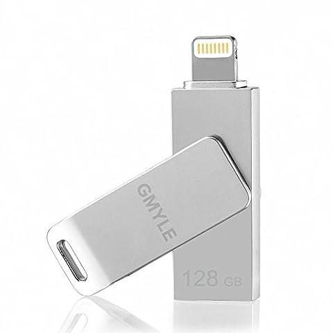 Clé USB pour iPhone iPad [Certifié Apple MFi], Pivotant Clé USB Mobile GMYLE avec connecteur Lightning (64 Go) (Gris
