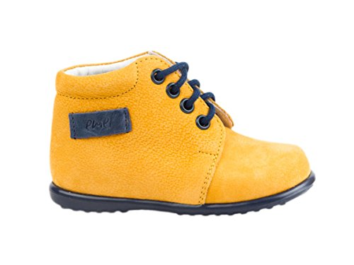 Chaussures en cuir Emel fabriquées main en UE – jaune décontractées à lacets - pointure 18 jaune