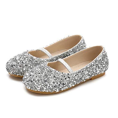 Schuhe Kostüm Bow - HXD Kinder Prinzessin Gelee Partei Sandalette mit Mädchen Kostüm Ballerina Absatz-Schuhe (32 EU, Golden)