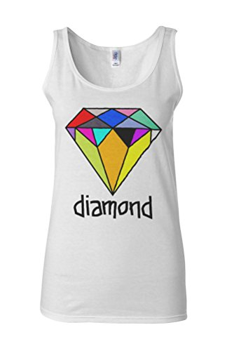 Colourful Diamond Funny Novelty White Femme Women Tricot de Corps Tank Top Vest **Blanc