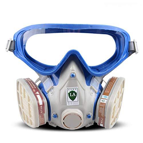 Dämpfe Atemschutzmaske Patrone (MOXIN Profi Atemschutzmaske Staubschutzmaske Dämpfe und Partikel - Für Farbspritz- und Maschinen Schleifarbeiten mit Wechselfiltern gegen organische Gase,Blue)