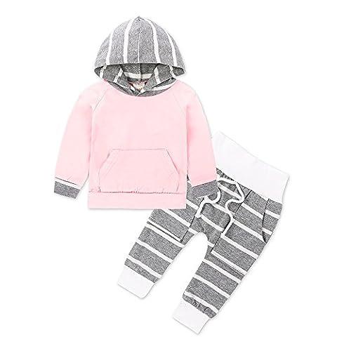 Kangrunmy Ensembles Pantalons Et Haut De BéBé Manteau à Capuche Avec Rayure En Chaudes Pour Bebe Fille Et GarçOns 6-18 Mois (6 mois, Rose)